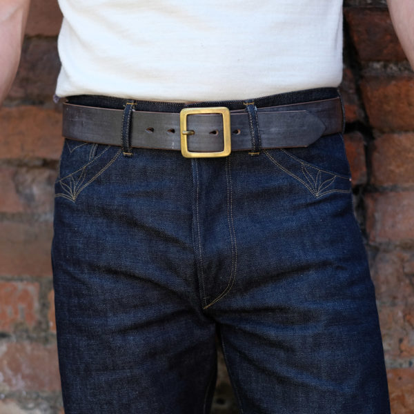 Hollows Leather Rail Belt Dark Brown Bridle