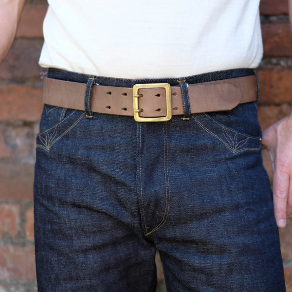 Hollows Leather Rail Belt Natural Chromexcel Double Prong
