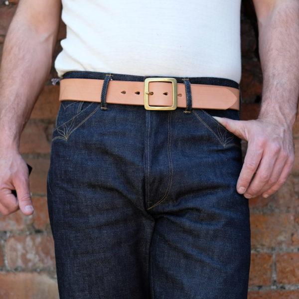 Hollows Leather Rail Belt Natural Veg Tan Single Prong