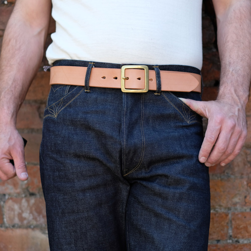 Hollows Leather – Single Prong Rail Belt – Natural Veg Tan