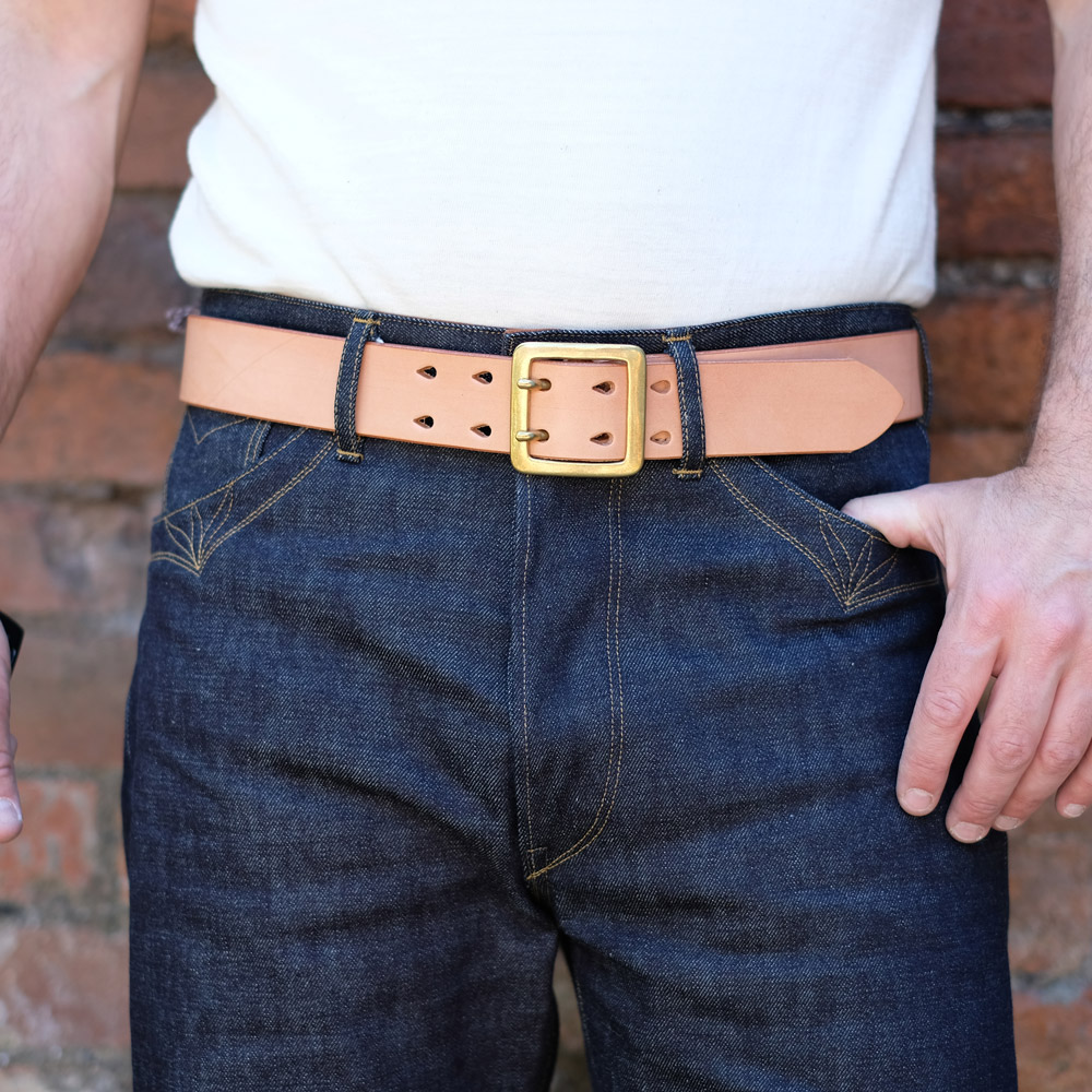 Hollows Leather – Double Prong Rail Belt – Natural Veg Tan