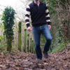 Dehen 1920 Motorcycle Sweater Black White Stripe