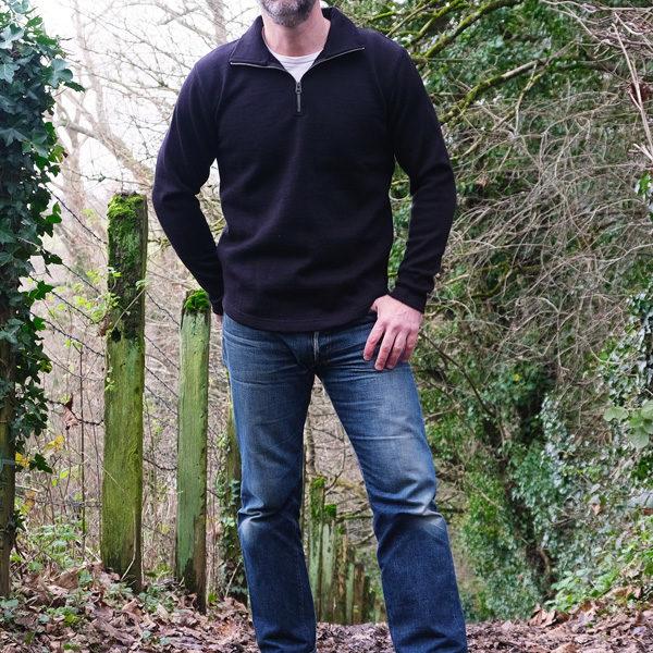Dehen 1920 1/4 Zip Sweater Black