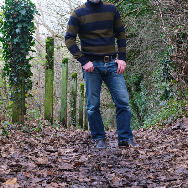 Dehen 1920 Submariner's Turtleneck – Loden & Navy