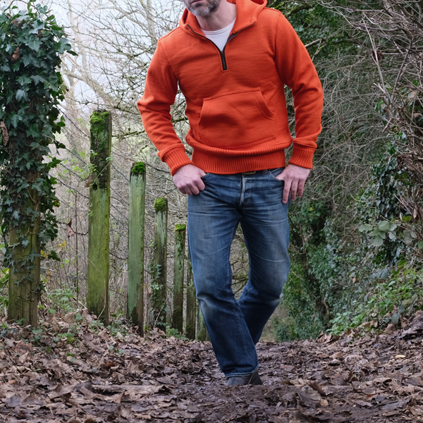 Dehen 1920 1/4 Zip Moto Hoodie - Safety Orange