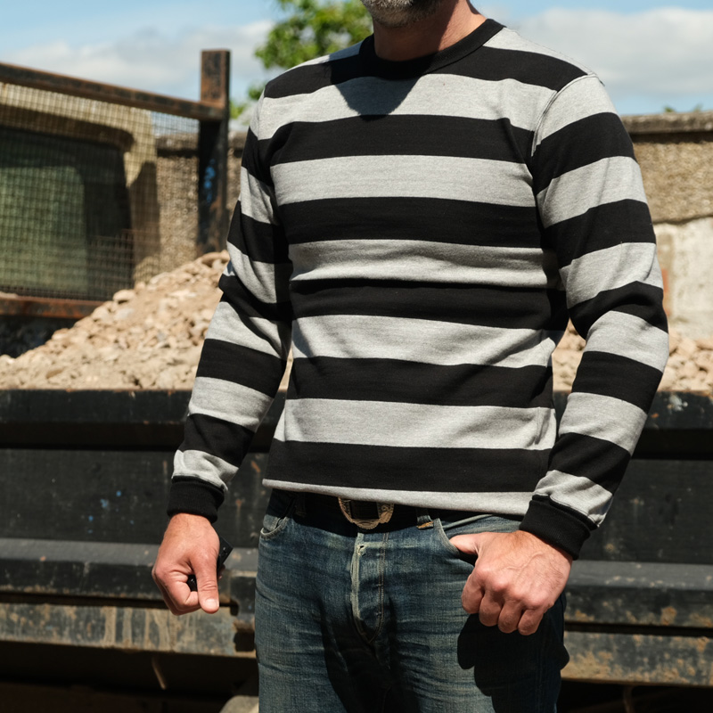 WESTRIDE Heavy Border Long Sleeve Tee – Black/ Grey