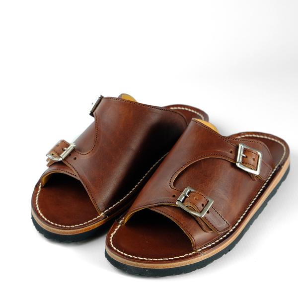 Zerrows Double Monk Sandals - Dark Brown Dagres Leather