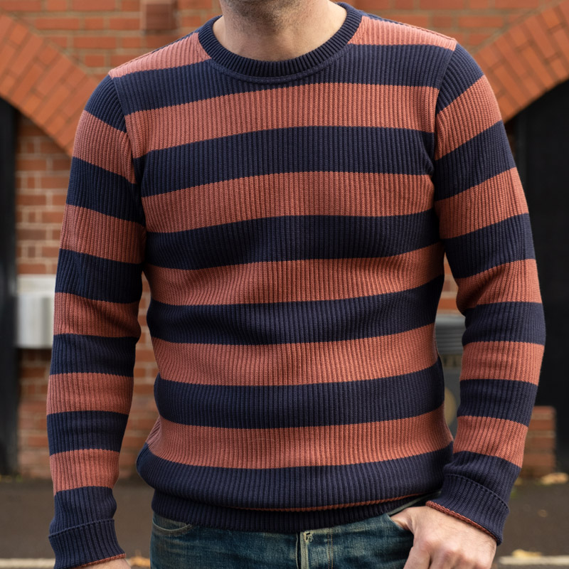 WESTRIDE Classic Rib Border Sweater – Navy/ GRNT