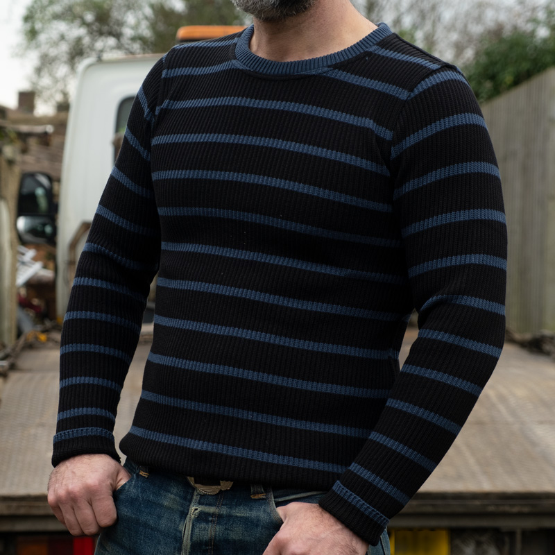 WESTRIDE Classic Rib Border Sweater – Black/ Marine