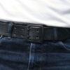 Hollows Leather Black Double Rail Belt - Black Bridle