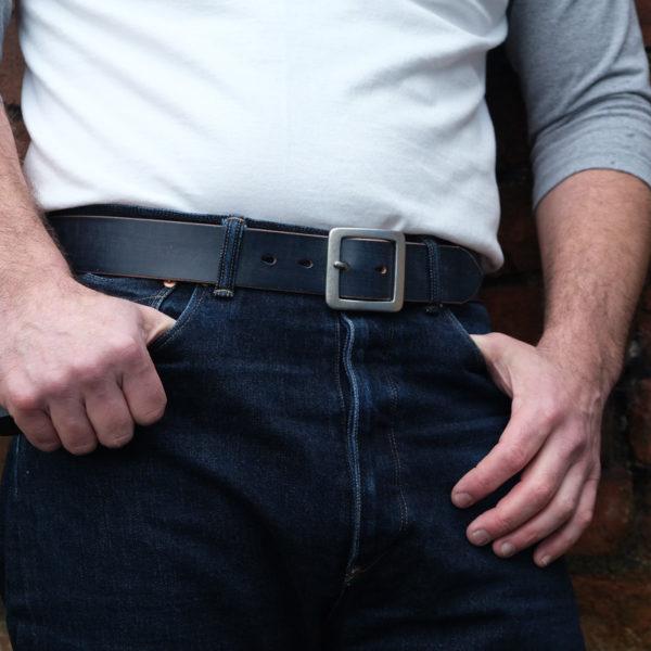 Hollows Leather Single Rail Belt - Navy Bridle