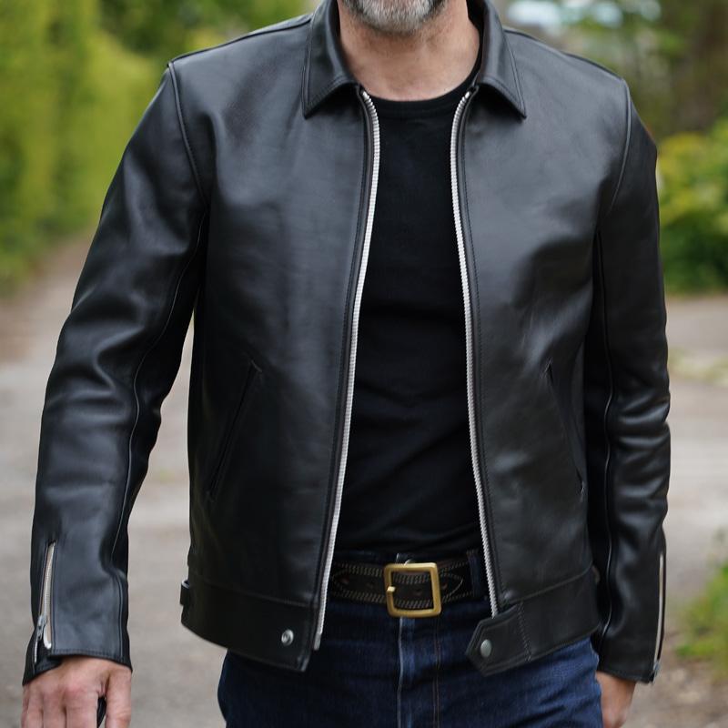 Addict Clothes AD-01 Centre Zip Jacket - Black Horsehide
