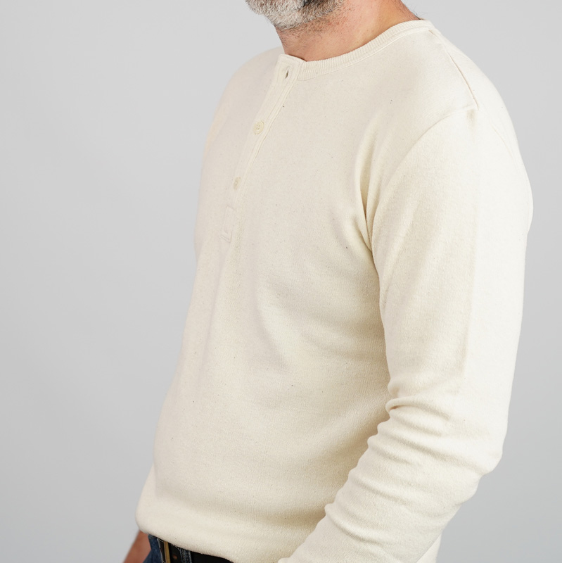 Addict Clothes Cotton/ Silk Henley – Natural/ Fleck