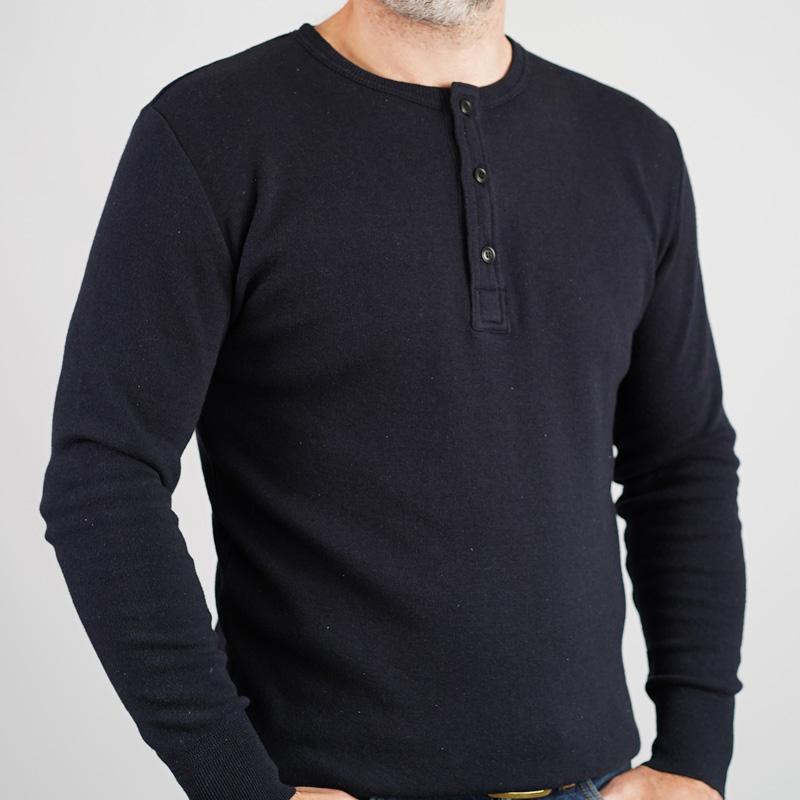Addict Clothes Cotton/ Silk Henley - Black
