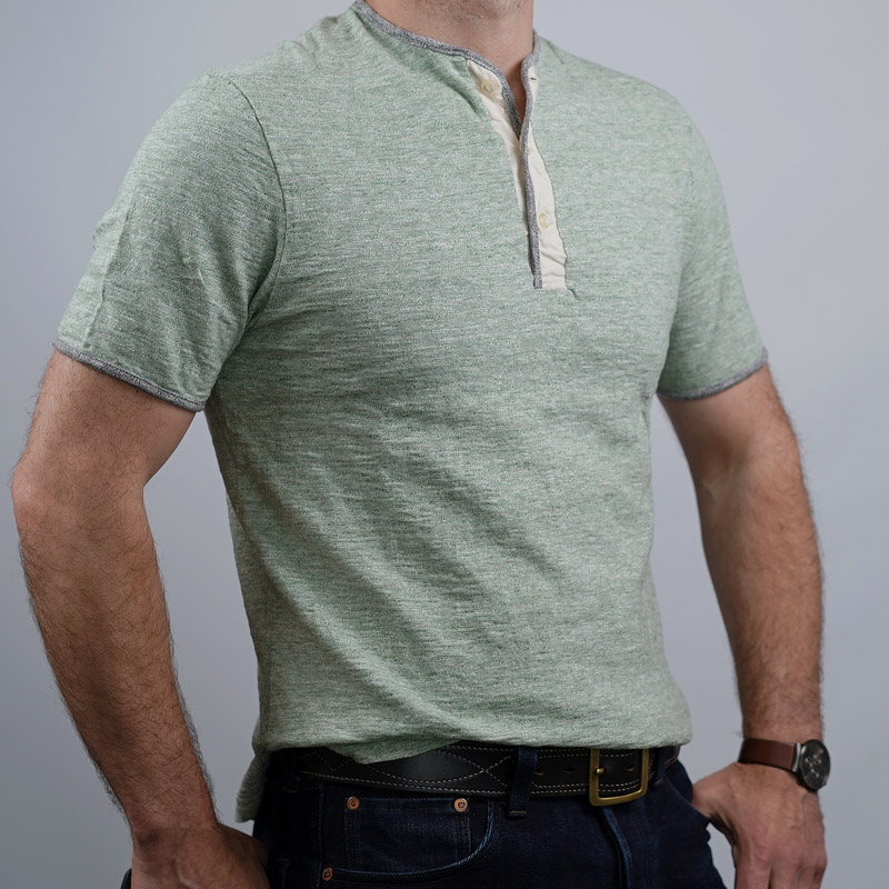 Loop & Weft Piped Edge Henley – Heather Green