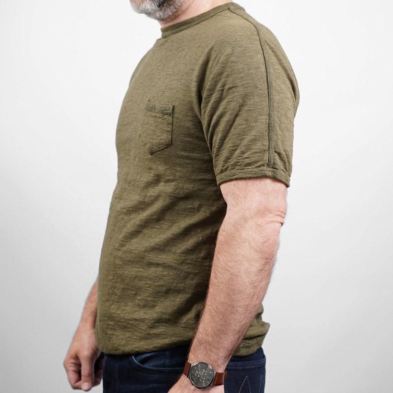 Loop & Weft Taped Rib Seam Pocket Crew Neck – Army Olive