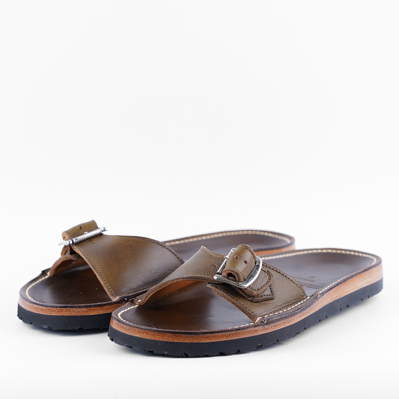 Zerrows One Strap Sandals – Olive CXL Leather
