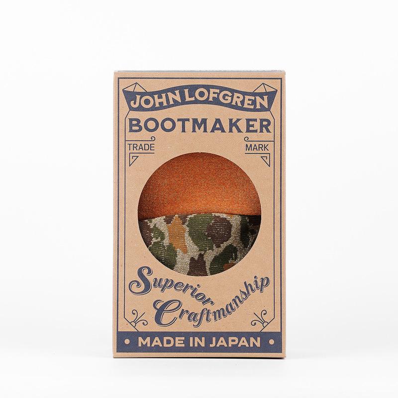John Lofgren socks – Camo Olive/ Grained Orange